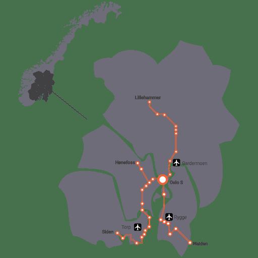 Kart av Østlandet